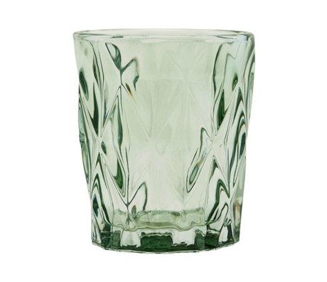 Housedoctor Tea light holder Facet green glass ⌀8.25x9.8cm