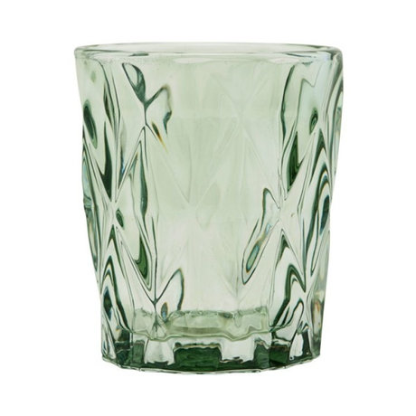Housedoctor Teelichthalter Facet grünes Glas ⌀8.25x9.8cm