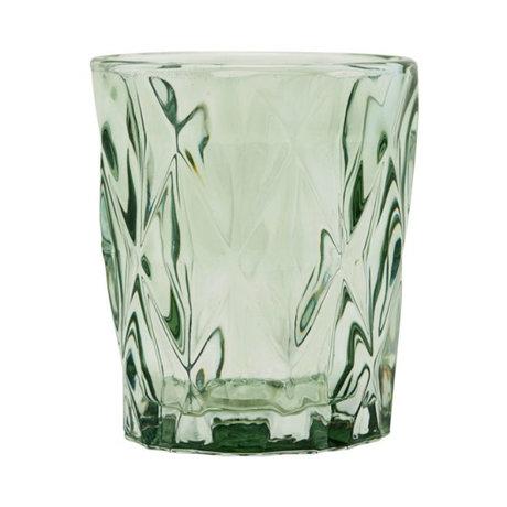 Housedoctor Waxinelichthouder Facet groen glas ⌀8,25x9,8cm
