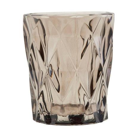 Housedoctor Waxinelichthouder Facet verre brun 58.25x9.8cm