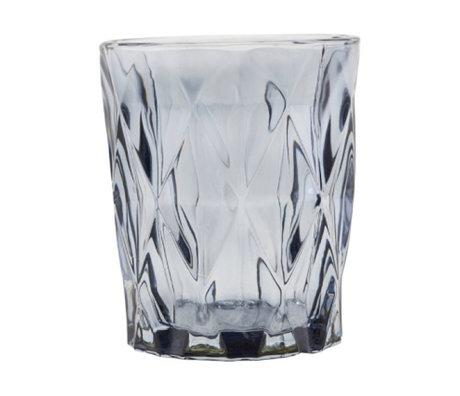 Housedoctor Teelichthalter Facet graues Glas ⌀8.25x9.8cm