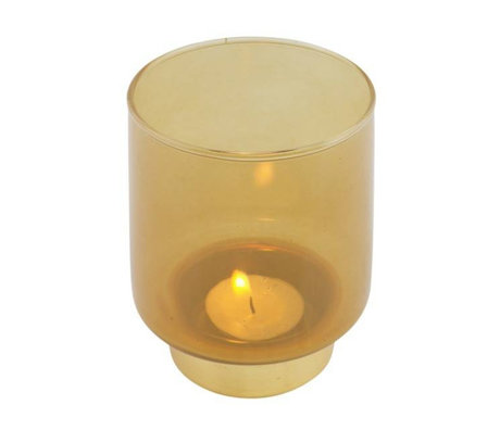WOOOD Tealight holder Lola ocher yellow glass M Ø9x11cm