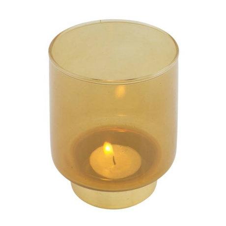 WOOOD Teelichthalter Lola ockergelbes Glas M Ø9x11cm