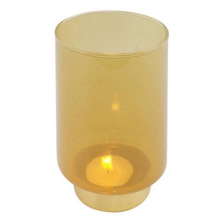 WOOOD Tealight holder Lola ocher glass L Ø9x14cm