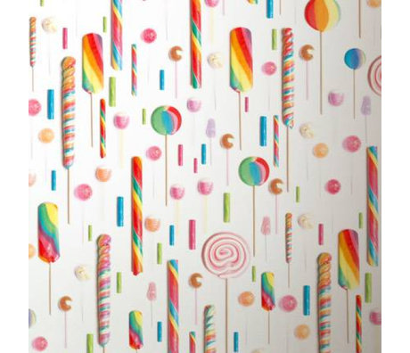 KEK Amsterdam Behang multicolour/wit Lolly's 146,1 x 280 cm 4m²