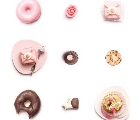 KEK Amsterdam Fond d'écran rose / blanc / marron Cupcakes 146.1 x 280 cm 4m