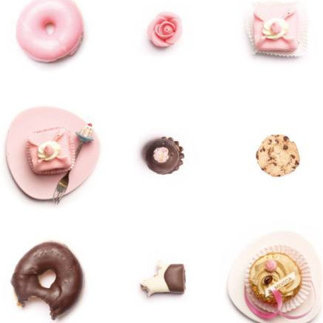 KEK Amsterdam Behang roze/wit/bruin Cakejes 146,1 x 280 cm 4m²