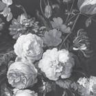 KEK Amsterdam Behang Golden Age Flowers zwart wit vliesbehang 389,6x280cm (8 sheets)