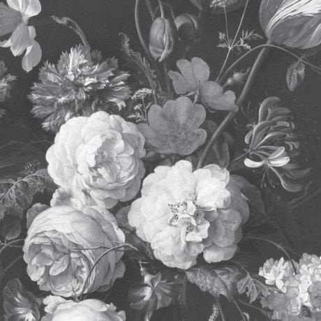 KEK Amsterdam Wallpaper Golden Age Flowers black and white non-woven wallpaper 389.6x280cm (8 sheets)