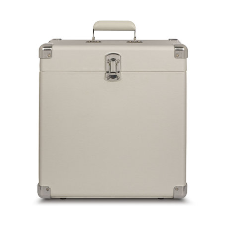 Crosley Radio portable case wood White Sand leather 38.1x38.1x17.8cm