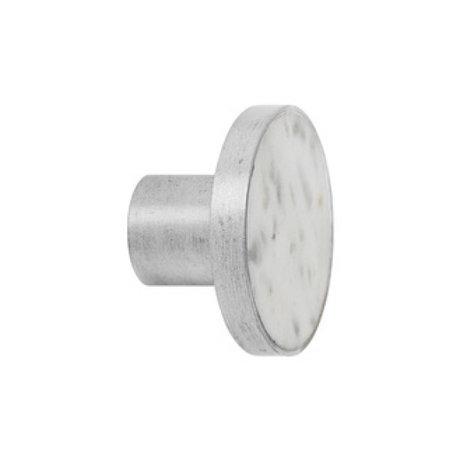 Ferm Living Haak Steel Marble Large wit marmer Ø4x3,5cm