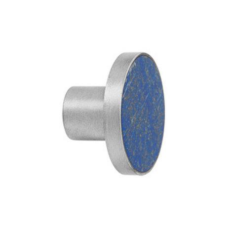 Ferm Living Haak Steel Stone Large blauw steen Ø4x3,5cm