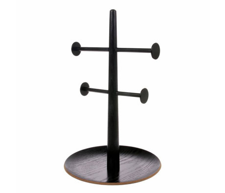 HK-living Ornamental rack black wood metal 19x19x31cm