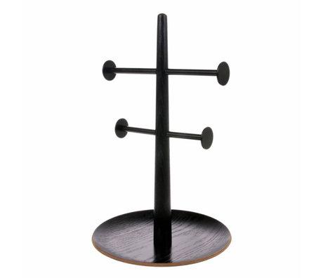 HK-living Sierandenrekje zwart hout metaal 19x19x31cm