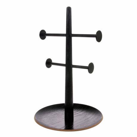 HK-living Ornamental basket black wood metal 19x19x31cm