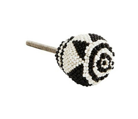 Madam Stoltz Doorknob black white beads iron ∅3,5cm