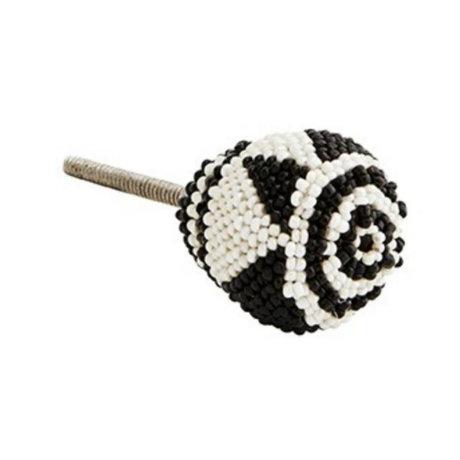 Madam Stoltz Deurknop zwart wit kraaltjes ijzer ∅3,5cm