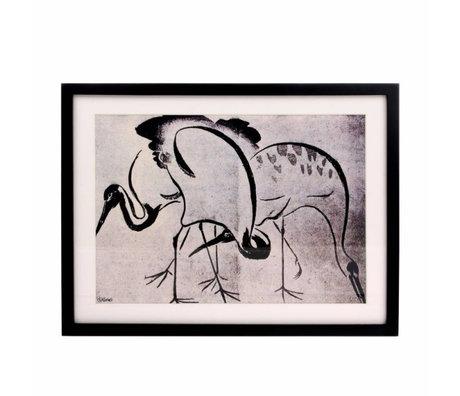 HK-living Liste d'art Grues noir blanc 31,5x41,5x2,5cm