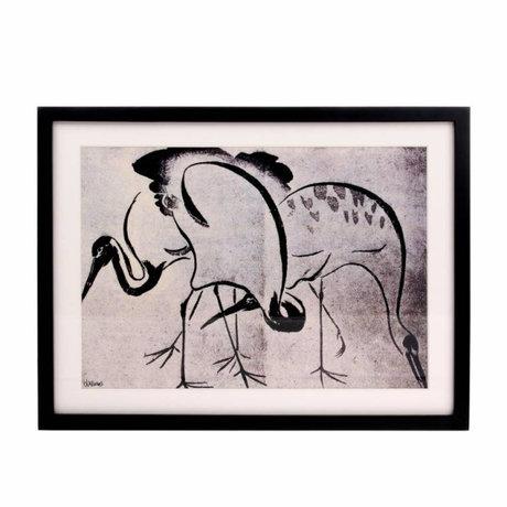 HK-living Kunstlijst Kraanvogels zwart wit 31,5x41,5x2,5cm