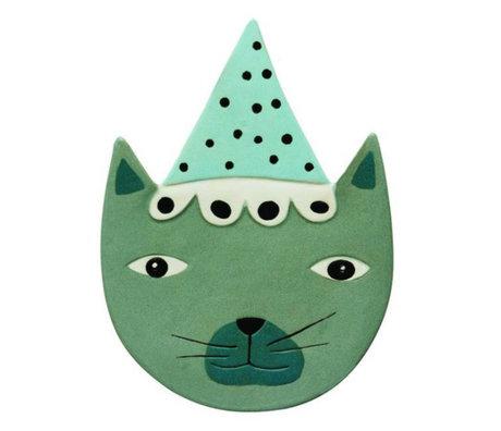OYOY Wandbord Buster Katze blau-grünen Keramik 20x27cm