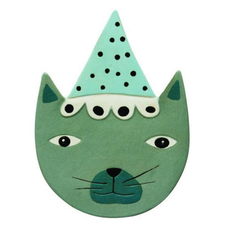 OYOY Wandbord Buster Cat blue-green ceramic 20x27cm