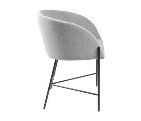 mister FRENKIE Chaise de salle à manger Manny gris clair noir Spy velours acier 57x54x76cm