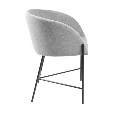 wonenmetlef Dining room chair Manny light gray black Spy textile steel 57x54x76cm