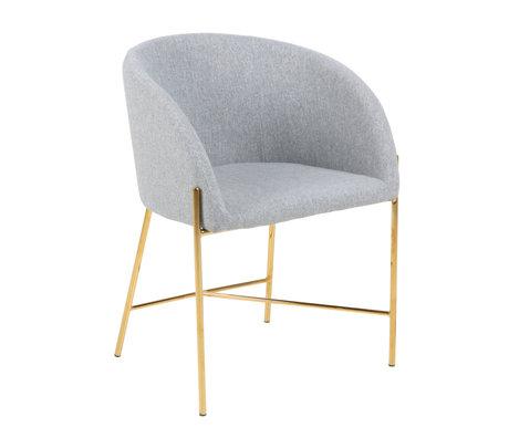 mister FRENKIE Chaise de salle à manger Manny gris clair or Spy velours métal 56x54x76cm