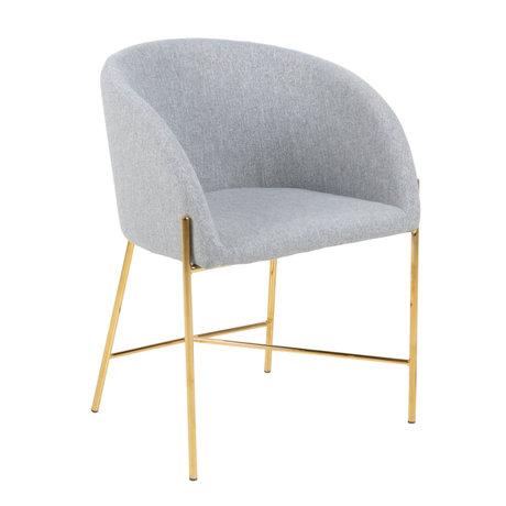 wonenmetlef Chaise de salle à manger Manny gris clair or Métal espion textile 56x54x76cm