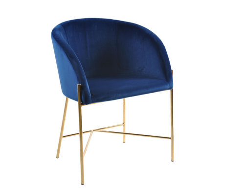 wonenmetlef Chaise de salle à manger Manny bleu foncé or VIC textile métal 56x54x76cm