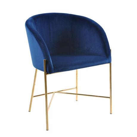 mister FRENKIE Chaise de salle à manger Manny bleu foncé or VIC velours métal 56x54x76cm