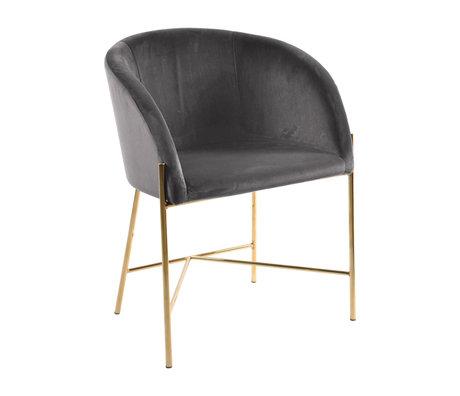 wonenmetlef Chaise de salle à manger Manny gris foncé or VIC textile métal 56x54x76cm