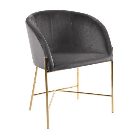 mister FRENKIE Chaise de salle à manger Manny or gris foncé VIC velours métal 56x54x76cm