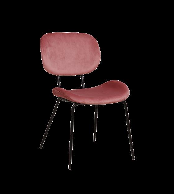 Eetkamerstoel oud roze velvet metaal 48x62,5x85,5cm
