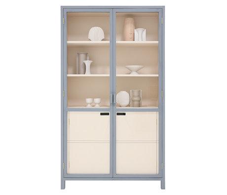 HK-living Cabinet Display grau Nude Holz 115x40x200cm