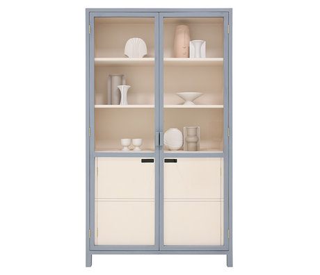 HK-living Cabinet Display gris nude bois 115x40x200cm