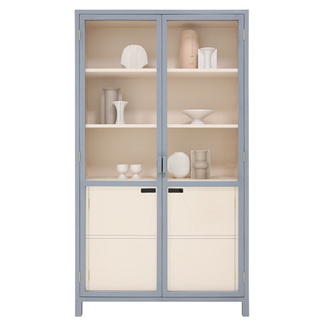 HK-living Cabinet Display gray nude wood 115x40x200cm