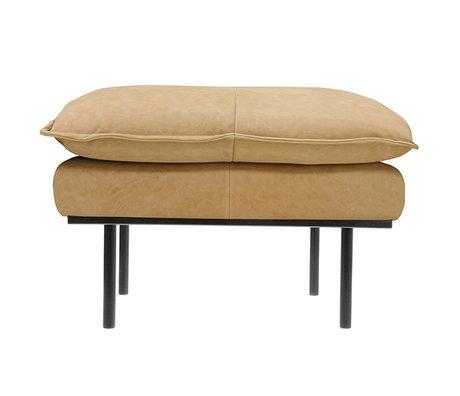 HK-living Hocker rétro naturel en cuir marron 72x65x46cm