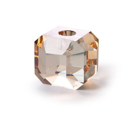 HK-living Kaarsenhouder diamant amber kristalglas 9x7x7cm