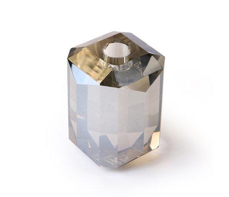 HK-living Kaarsenhouder diamant grijs kristalglas 8x8x11cm