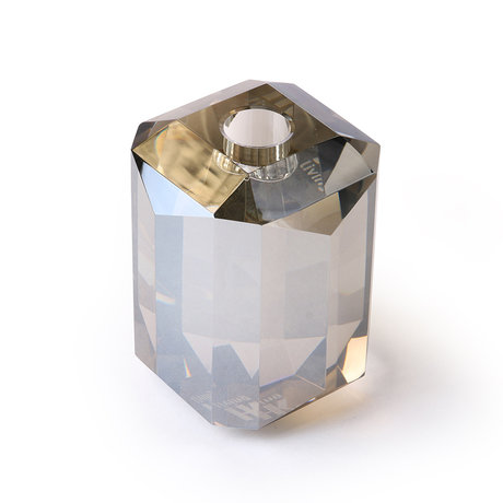 HK-living Kerzenhalter aus diamantgrauem Kristallglas 8x8x11cm