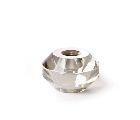 HK-living Kaarsenhouder rond grijs kristalglas 7,5x7,5x5cm