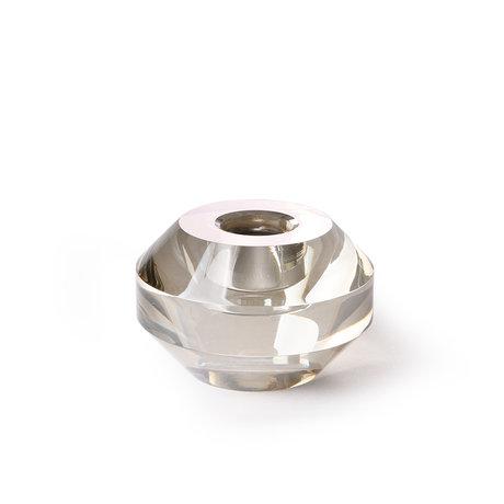 HK-living Kerzenhalter um graues Kristallglas 7,5x7,5x5cm