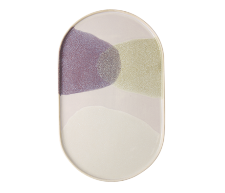 HK-living dinner plate oval green lilac ceramics gallery 23,5x14,5x1cm