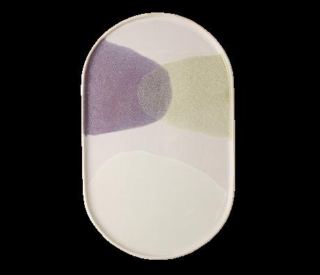 HK-living Essteller oval grün lila Keramik Galerie 23,5x14,5x1cm