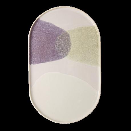 HK-living Speiseteller oval grün flieder Keramik Galerie 23,5x14,5x1cm