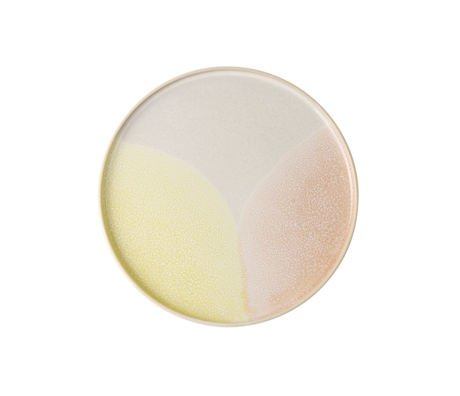 HK-living ontbijt bord roze geel keramiek gallery 18,5x18,5x1cm