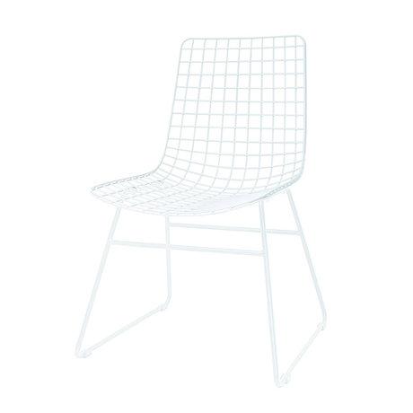 HK-living Eetkamerstoel wire dining wit metaal 47x54x86cm