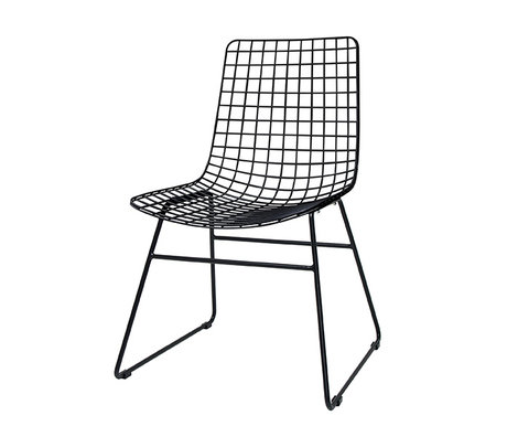 HK-living Chaise à manger métal noir 47x54x86cm fil