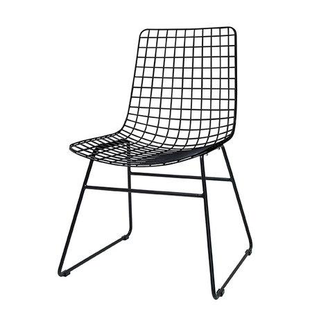 HK-living Eetkamerstoel wire dining zwart metaal 47x54x86cm